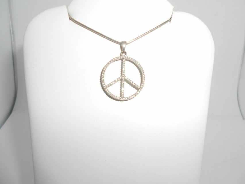 Solid sterling silver 45 ctw natural diamond peace sign pendant solid sterling silver 45 ctw natural diamond peace sign pendant on 18 inch chain necklace aloadofball Images