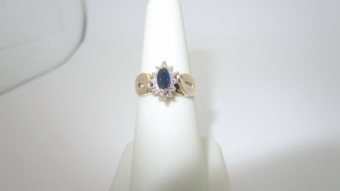 Antique 10K Solid Gold  30 ctw Natural Diamond & Sapphire Ring | Size 6 25