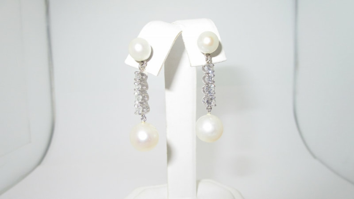 14k Solid White Gold Anese Pearl Natural Diamonds Pierced Earrings Back