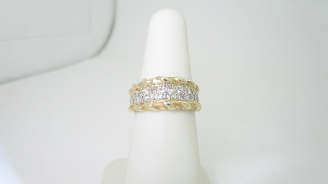 Wedding Rings Cheap.14k Solid Gold Art Deco 37 Ctw Natural White Pave Diamond Ring Size 6